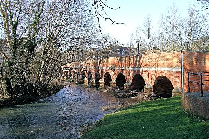 River bridge at entrance to Leatherhead
